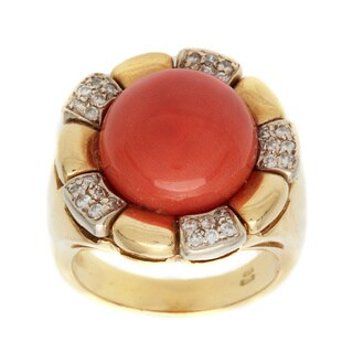 Pre-owned 18K Yellow Gold 1/7ct TDW Diamond Sunflower Coral Cocktail Ring (J-K, SI1-SI2)