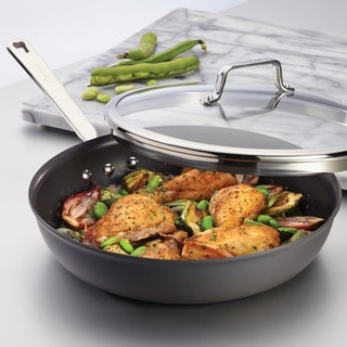 Anolon Authority Hard-anodized Nonstick 12 1/2-inch Grey Covered Deep Skillet