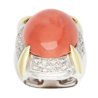 Pre-owned 14k Two-tone Gold 3/5ct TDW Giant Coral Dome Estate Ring (H-I, VS1-VS2)