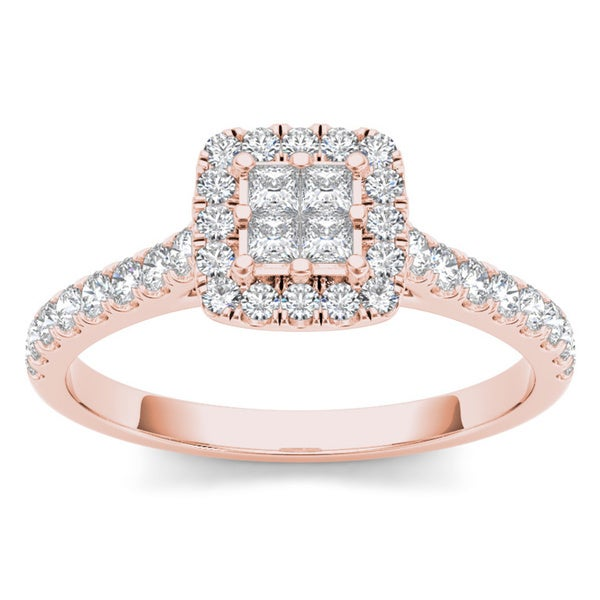 De Couer 10k Rose Gold 1/2ct TDW Diamond Halo Engagement Ring
