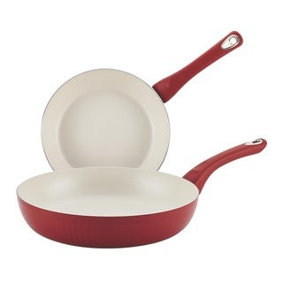 Farberware New Traditions Aluminum Nonstick 8-inch and 10-inch 2-piece Red Skillet Set