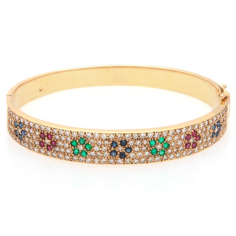 Pre-owned 14k Yellow Gold 3ct TDW Diamond Flower Sequence Estate Bangle (H-I, SI1-SI2)