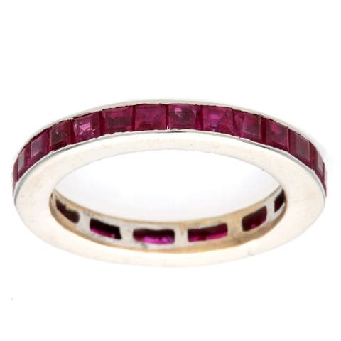 Pre - owned 18k White Gold Estate Ruby Eternity Ring Size - 6
