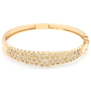 Pre-owned 14k Yellow Gold 5 1/2ct TDW Diamond Estate Cluster Bangle (I-J, VS1-VS2)