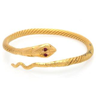 Pre-owned 24k Yellow Gold Ruby Snake Estate Bangle|https://ak1.ostkcdn.com/images/products/9238700/P16405093.jpg?impolicy=medium