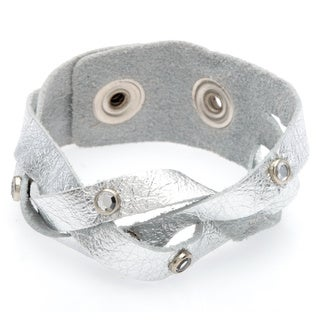 Kele & Co. Silvertone Leather Snap Bracelet