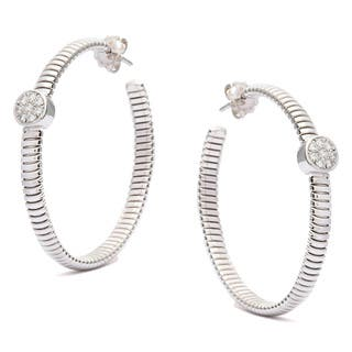 Pre-owned 18k White Gold 1/3ct TDW Diamond Tubogas Hoop Estate Earrings (G-H, SI1-SI2)|https://ak1.ostkcdn.com/images/products/9238711/P16405089.jpg?impolicy=medium