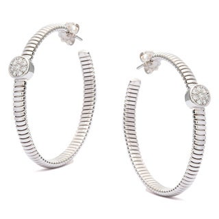 Pre-owned 18k White Gold 1/3ct TDW Diamond Tubogas Hoop Estate Earrings (G-H, SI1-SI2)