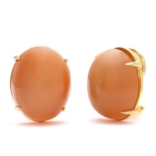 Pre-owned 18k Yellow Gold Giant Agate Estate Earrings