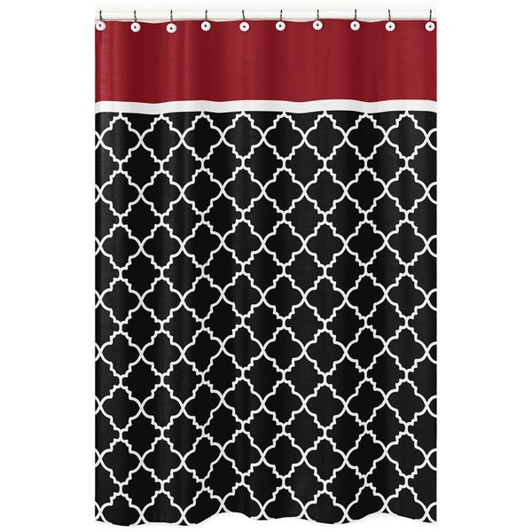 Sweet Jojo Designs Red Black Trellis Shower Curtain