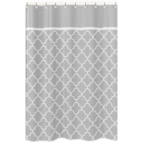 Shop Sweet Jojo Designs Grey White Trellis Shower Curtain Free