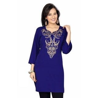 Women's Zari Embroidered Navy Blue Crepe Kurti Tunic (India)