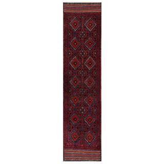 Herat Oriental Afghan Hand-knotted 1960s Semi-antique Tribal Balouchi Wool Runner (2' x 9'2)
