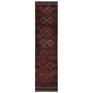 Herat Oriental Semi-antique Afghan Hand-knotted Tribal Balouchi Maroon/ Navy Wool Rug (2' x 8'8)
