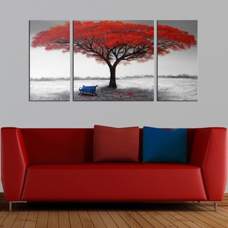 Silver Orchid 'The First Snowflakes' Hand Painted 3-piece Gallery-wrapped Canvas Art Set - Red