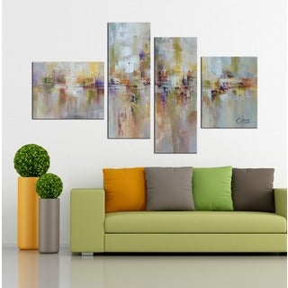Hand-painted 'Abstract529' 4-piece Gallery-wrapped Canvas Art Set