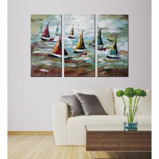 Hand-painted 'Brave The Wind And Waves' 3-piece Gallery-wrapped Canvas Art Set