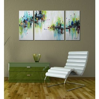 Hand-painted 'Abstract545' 3-piece Gallery-wrapped Canvas Art Set