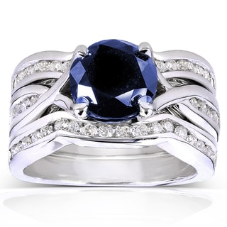Annello by Kobelli 14k White Gold Round Blue Sapphire and 3/4ct TDW Diamond 3-piece Bridal Rings Set