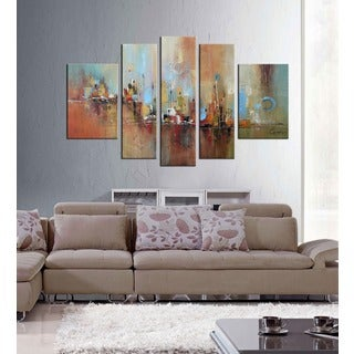 Hand-painted 'Abstract532' 5-piece Gallery-wrapped Canvas Art Set