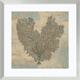 Framed Art Print 'Aqua Fan Coral' by Caroline Kelly 27 x 27-inch