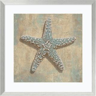 Framed Art Print 'Aqua Starfish' by Caroline Kelly 27 x 27-inch