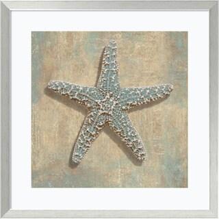 Caroline Kelly 'Aqua Starfish' Framed Art Print 27 x 27-inch