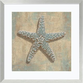 Framed Art Print 'Aqua Starfish' by Caroline Kelly 27 x 27-inch|https://ak1.ostkcdn.com/images/products/9239224/P16405603.jpg?impolicy=medium