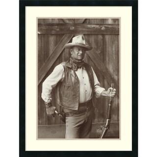 Framed Art Print 'John Wayne' by Bob Willoughby 24 x 32-inch