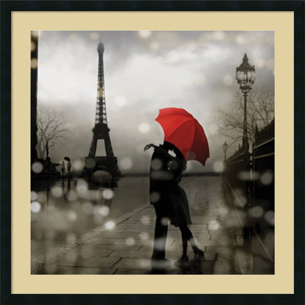 Framed Art Print 'Paris Romance' by Kate Carrigan 34 x 34-inch. Opens flyout.