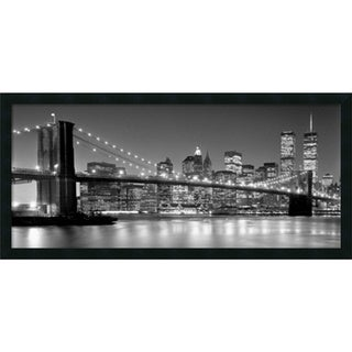 Framed Art Print 'Brooklyn Bridge' by Henri Silberman 38 x 18-inch