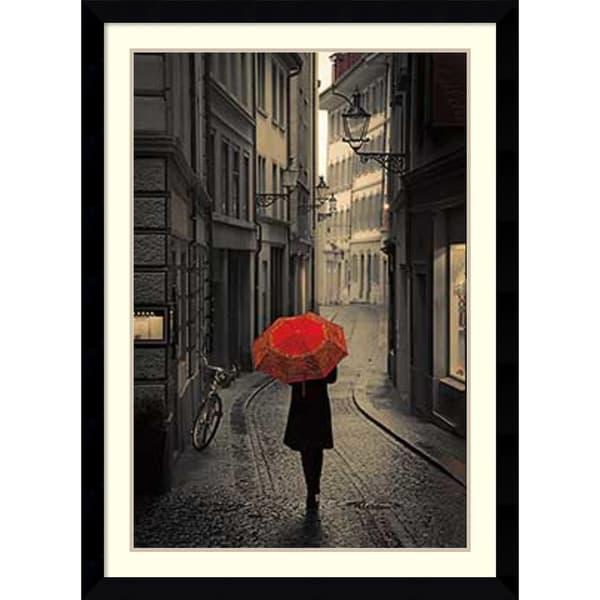 Framed Art Print 'Red Rain' by Stefano Corso 31 x 43-inch
