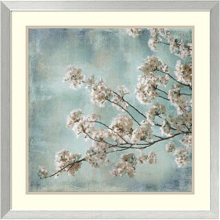 Framed Art Print 'Aqua Blossoms I' by John Seba 26 x 26-inch