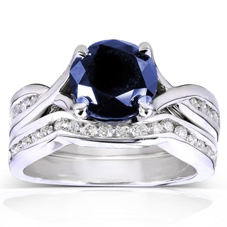 Annello by Kobelli 14k White Gold Round Blue Sapphire and 1/2ct TDW Diamond Bridal Rings Set