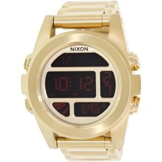 Nixon Men's Unit Ss 'A360502' Goldtone Stainless Steel Digital Watch|https://ak1.ostkcdn.com/images/products/9239366/P16405731.jpg?impolicy=medium