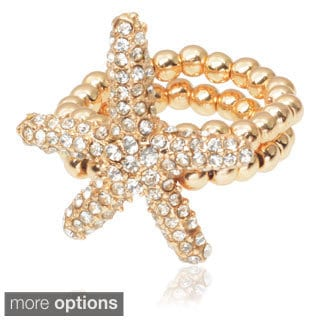 Journee Collection Brass Cubic Zirconia Starfish Stretch Ring