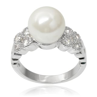 Journee Collection Brass Faux Pearl Cubic Zirconia Ring