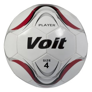 Voit Size 4 Player Soccer Ball Deflated - White and Red Graphic