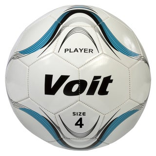 Voit Size 4 Player Soccer Ball Deflated - White and Blue Graphic