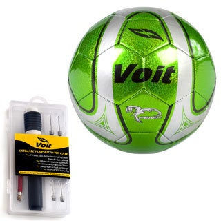 Voit Size 5 Fenix Soccer Ball with Ultimate Inflating Kit - Green and Silver