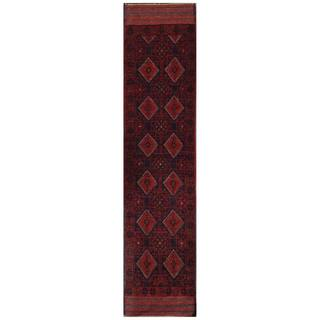 Herat Oriental Semi-antique Afghan Hand-knotted Tribal Balouchi Red/ Navy Wool Rug (1'10 x 8'5)