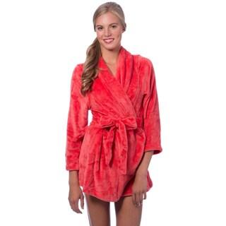 Short Plush Self-belt Robe (Option: Orange)