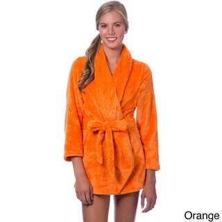 Short Plush Self-belt Robe