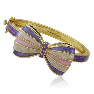 Molly Glitz Bowtique 14k Goldplated Crystal Accent Marbleized Enamel Striped Bow Bangle