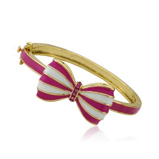 Molly Glitz Bowtique 14k Goldplated Crystal Center Enamel Striped Bow Bangle