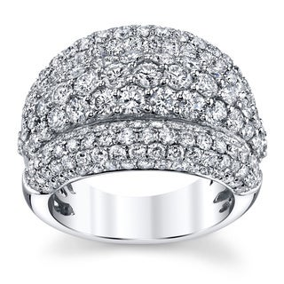 18k White Gold 4ct TDW Round Diamond Pave-set Dome Ring