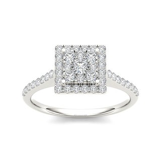 De Couer 10k Gold 3/4ct TDW Diamond Square Shape Engagement Ring