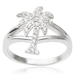 Journee Collection Sterling Silver Cubic Zirconia Palm Tree Ring