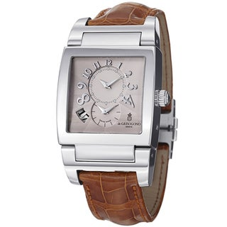 De Grisogono Men's UNODF N01BR 'Instrmento' Silver Dial Brown Leather Strap Watch