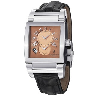 De Grisogono Men's UNODF N02 'Instrmento' Rose-Tone Dial Black Leather Strap Watch